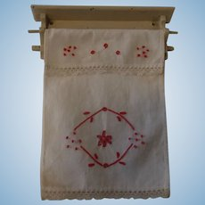 German Doll or Large Scale Dollhouse Kitchen Towel Wall Holder with Over Towel ca. 1910