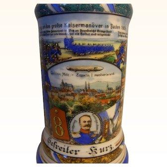 Antique German 1910 Reservist Beer Stein Emperor Maneuvers Baden 1909