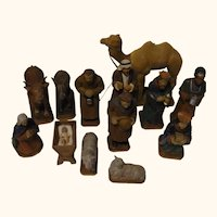 Hand Carved and Painted Nativity Scene Vintage German