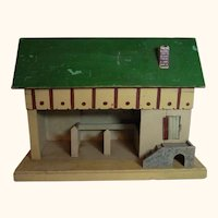 Vintage German Wood Toy Barn Horse Stable