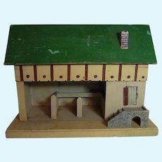 Vintage German Wood Toy Barn Horse Stable