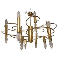18 Light Brass Sciolari Chandelier italy 1960s