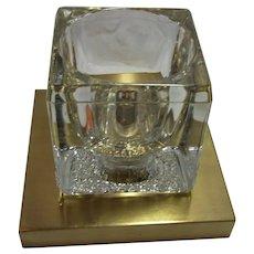 Mid Century Single Peill & Putzler Brass & Cube Glass Sciolari Style Sconces