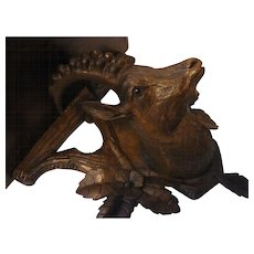 Antique Swiss BRIENZ Hand Carved Wood Black Forest Wall Shelf Ibex