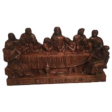 Huge German Carved Wood Last Supper 29 x 15 5/8 inch
