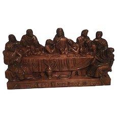 Huge German Carved Wood Last Supper 29 x 15 5/8 inch