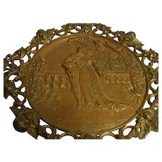 Antique German Historismus Brass Wall Plaque Ca.1900