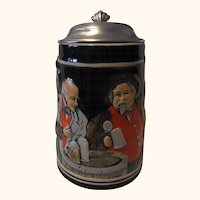 Vintage German Beer Stein Bavaria Drinking Scene