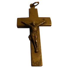 Antique German Brass Cross with Relic ca.1860s