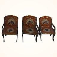 3 Vintage German Brass Dollhouse Chairs