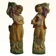A Pair of German Figure Man Woman Table Vase ca.1900