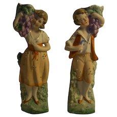 A Pair of German Figure Man Woman Table Vase ca.1900