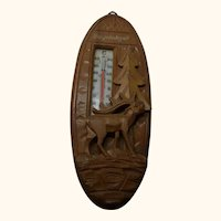 Thermometer Deer Black Forest Wood Carved Bayrischzell Germany Souvenir