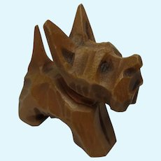 German Hand Carved Wood Dog Doll Size