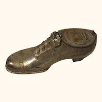 Antique German Metal Shoe Inkwell 1880