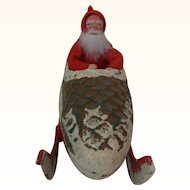 Vintage German Cardboard Santa Claus Candy Container in Pinecone Sleigh