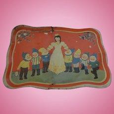 Vintage German Tin Toy Doll Tray Plate Snow White