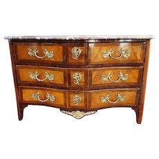 French Commode in Marquetry stamped Porrot, Louis XV period