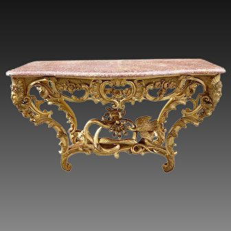 19 th C French curved console gilded wood