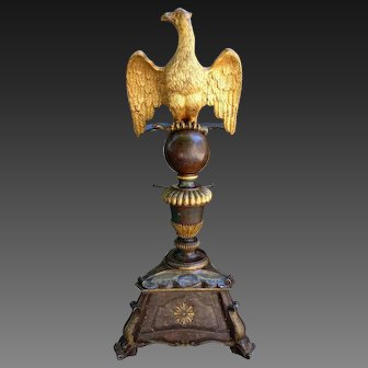 French 18 th C lectern in gilded wood with an evangelist eagle