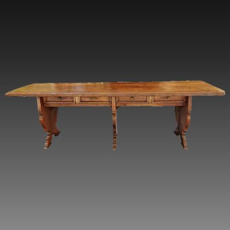 17 th C Italian Farm table or religious community, 103 inches