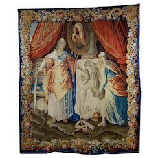 17th C Aubusson tapestry: decapitation of Holofernes by Judith