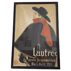 Tolousse Lautrec 1959 Lithographic Poster Jacquement-Andre Mourlot Paris, 70 x 47 cm