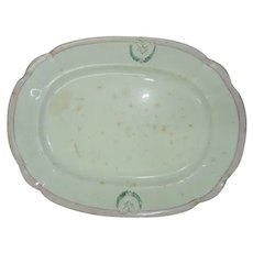 Antique 19th Century Imperial Russian Kuznetsov Porcelain Oval Platter, Marked, 37.8 x 28.7 cm
