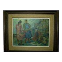 Claire Szilard, Hungarian & Israeli Artist, Impressionism Oil Painting, Merchants in the Market,  32 x 42 cm