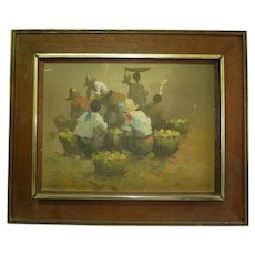 Filipino Oil Painting, Philippine Merchants in Market, Signed R. Polul 1975, 30 x 40 cm