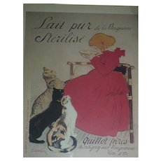 Lait Pur Sterilise, Steinlen, Mixed Media French Poster, Partial Lithograph, 42 x 31.5 cm