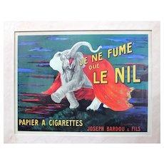 Vintage French Poster for Cigarettes, Je ne Fume que LE NIL, VGC, 50 x 80 cm
