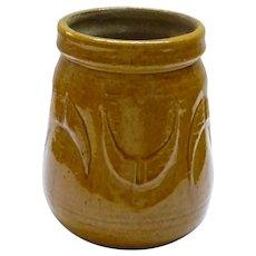 Vintage 1960's Israeli Marked Handcrafted Mitzpeh Rimon Glazed Ceramic Brown Vase, H 14.8 cm
