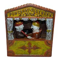 Vintage 1920-30s USA Mechanical Moving Figures Punch and Judy Iron Savings Bank, H 18 cm