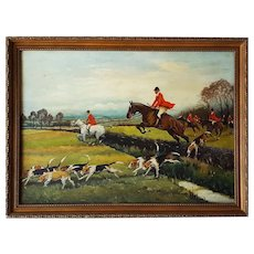 Fine Vintage Dutch Oil Painting, Equestrian Hunting Scene w/Dogs, M. DeRoover, 47 x 69 cm