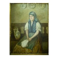 Nagy Vilmos, Antique Signed Hungarian Oil Painting, Seated Lady in Room, 80 x 60 cm