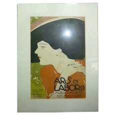Antique 1909 Italian Lithographic Advertisement Poster ARS & LABOR, Musica e Musicisti, 24 x 16 cm