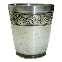 Antique 1920s French Orbrille Marked Art Nouveau Silver Plated 6.6 Goblet, H 7.6 cm