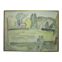 Early David Messer Listed Paris Artist Painting, Figures in a Kibbutz, 18 x 24 cm