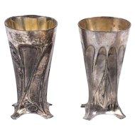 Pair  Antique 1900 WMF German Art Nouveau Goblets Silver-Plated Pewter, H 11.2 cm