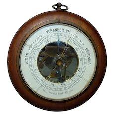 Antique 19C Belgian Utrecht Spring-Mechanism Hallmarked Barometer, Dia. Dial 11 cm