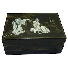 """Antique Japanese Wood and Lacquer Box, Mother-of-Pearl and Gold Ornamented, 6"""" x 4"""""""