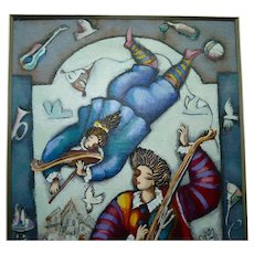 Michael Kachan Impasto Acrylic Painting /C, Colorful Musicians Band, 56.5 x 39 cm