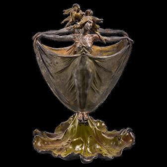 Antique Art Nouveau Brass Centerpiece, Woman with spread Flowing Skirt, Leaf Base, H 29 cm