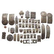 Collection Antique Cossack Caucasus Kafkaz Niello Silver Buckles and Belts, 1.8 Kg