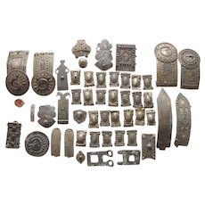 Collection of Antique Cossack Caucasus Kafkaz Niello Silver Parts of Buckles and Belts, 1.8 Kg