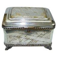 Antique 1910-20 WMF Poland Judaica Marked Silver-Plated Brass Etrog Box, H 8.5 cm
