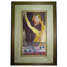 "Vintage Impasto Modernism Oil Painting ""Human Figure"", Signed G.Hkia, 28 x 15 cm"
