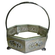 Antique WMF Silver-Plated Centerpiece Fruit Bowl Original Glass Liner, Marked Beehive and Ostrich, H 19 cm