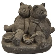 Helen Young, British Sculpturist, Heavy Grey Stone Signed Sculpture of Two Bears 1994, H 24.5cm, over 12 Kg